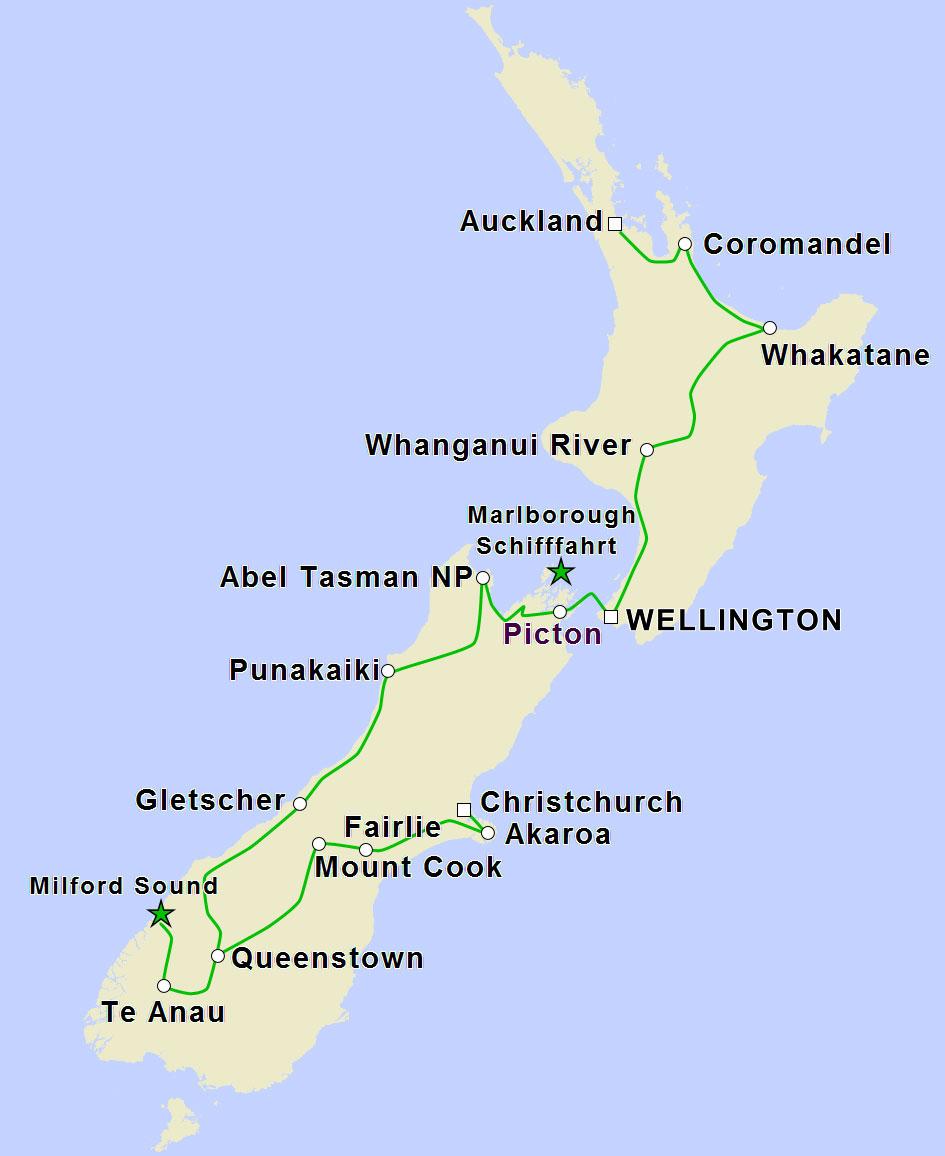 Nurkundliche Rundreise Auckand nach Christchurch