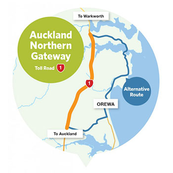 Northern Gateway Mautstrasse in Auckland Neuseeland